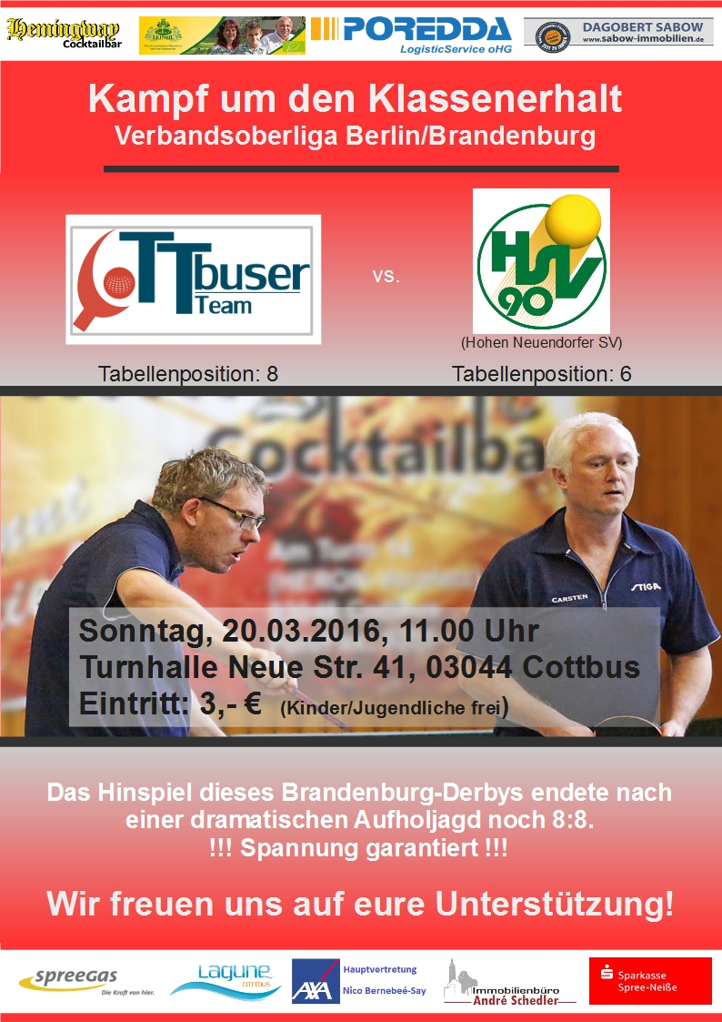 Einladung zum Brandenburg-Derby: CTTT 1 – Hohen Neuendorfer SV