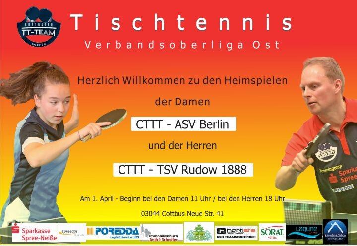 Heimspiel der 1. Herrenmannschaft und Ehrung eines Besonderen  Sportlers des Cottbuser TT-Team  in der Johann- Heinrich Pestalozzi Turnhalle am 01. April 2017!!!